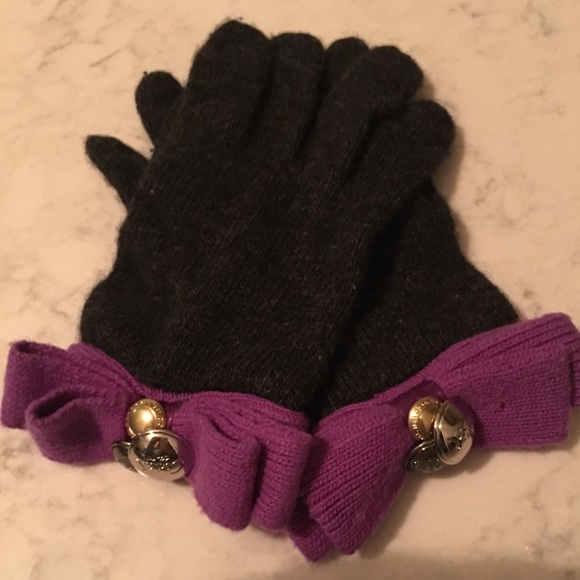 Coach Dark Gray and Purple Knit Gloves with Charms